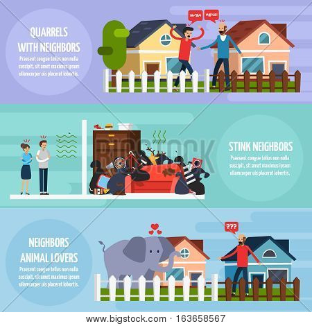 Conflicts with neighbors horizontal banners set with stink neighbors symbols flat isolated vector illustration