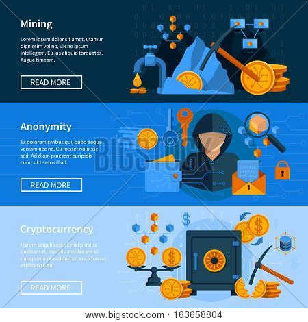 Set of horizontal banners in flat style with virtual currency mining and anonymity isolated vector illustration
