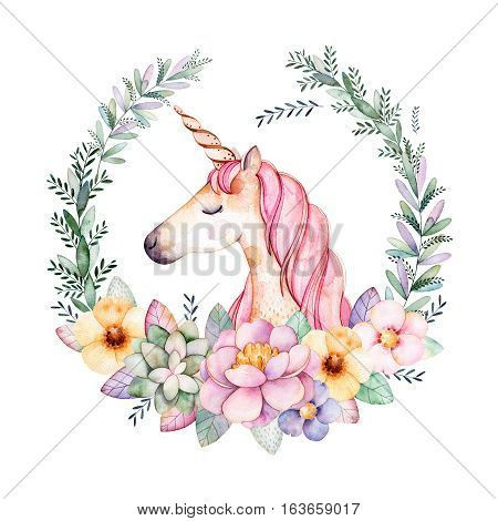 Colorful floral pastel template card with peony,flowers,leaves,succulent plant,branches,eucalyptus leaves and cute unicorn.