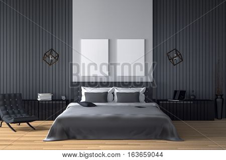 3D rendering : illustration of modern house interior.bed room part of house.Spacious bedroom in black and white style.modern furniturebig bed and decorative.mock up white frame.tablet and laptops