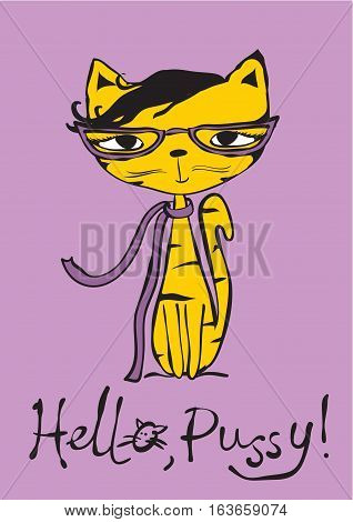 Vector card with cute cat and hand drawn text.