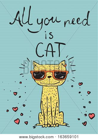 Vector card with cute cat and hand drawn text