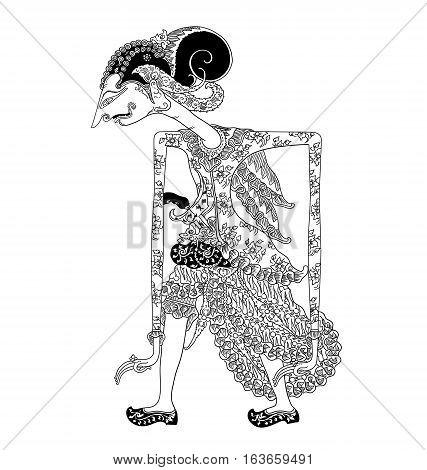 Batara Darma, a character of traditional puppet show, wayang kulit from java indonesia.