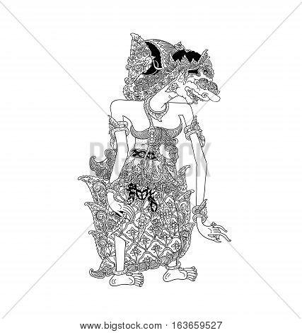 Batara Durga, a character of traditional puppet show, wayang kulit from java indonesia.