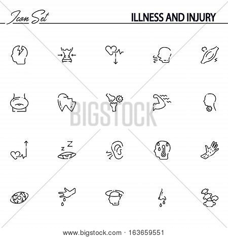 Illness and injury flat icon set. Collection of high quality outline symbols of disease for web design, mobile app. Vector thin line icons or logo of headache, drowsiness, fever, sore throat, etc.