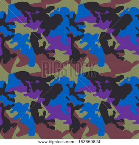 Camouflage pattern background seamless clothing print repeatable camo glamour vector. Blue purple black olive