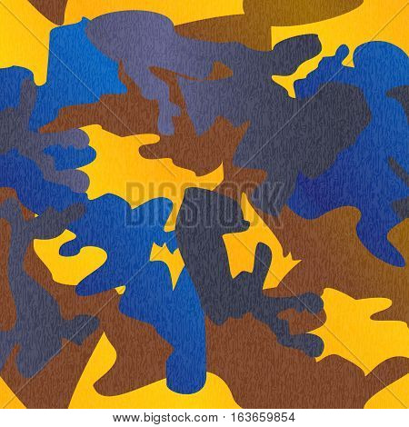 Camouflage pattern background clothing print repeatable camo glamour grunge of scratch vector. Yellow brown blue