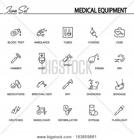 Medical equipment flat icon set. Collection of high quality outline symbols of medical equipment for web design, mobile app. Vector thin line icons or logo of tubes, hammer, mask, spray, bondage, etc.