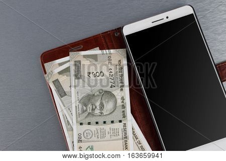 New Indian Rupee 500 Currency Note and Mobile