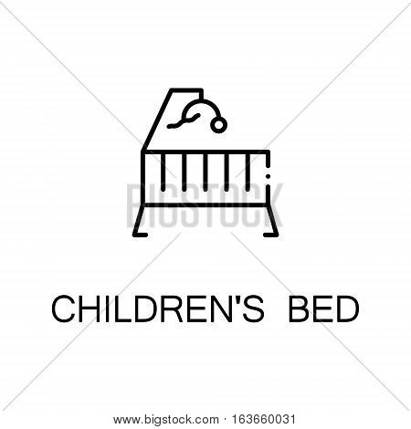 Bed flat icon. High quality outline symbol of medical euipment for web design or mobile app. Thin line signs of children's bed for design logo, visit card, etc. Outline pictogram of bed