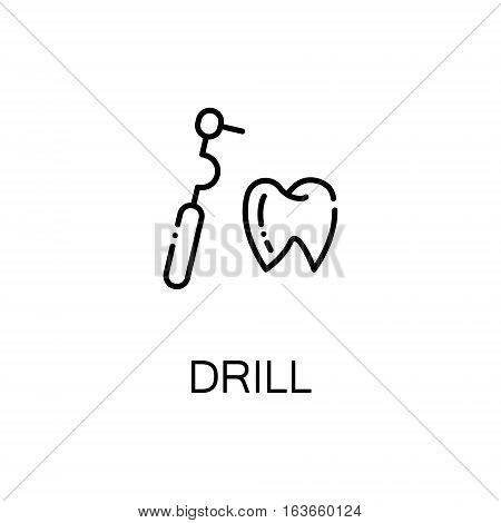 Drill flat icon. High quality outline symbol of medical euipment for web design or mobile app. Thin line signs of medical drill for design logo, visit card, etc. Outline pictogram of drill