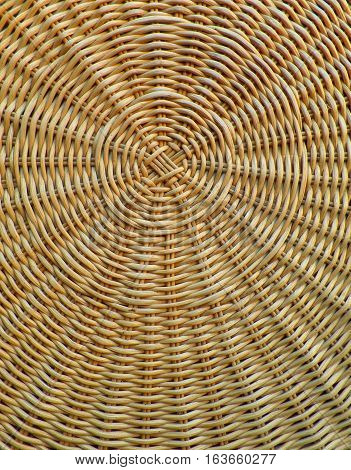 Pattern and Texture of Natural Light Brown Rattan Table Top, Vertical Photo
