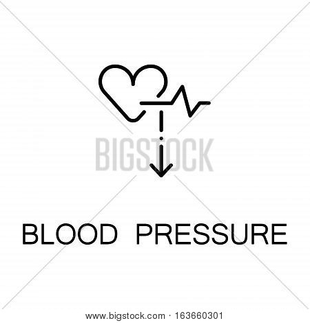Blood pressure flat icon. Single high quality outline symbol of illness and injury for web design or mobile app. Thin line sign of pressure for design logo, visit card, etc. Outline pictogram of heart