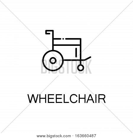 Wheelchair flat icon. High quality outline symbol of medical euipment for web design or mobile app. Thin line signs of wheelchair for design logo, visit card, etc. Outline pictogram of wheelchair