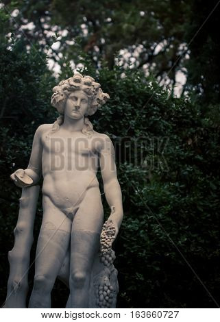 Naked male statue in boboli gardens in Florence