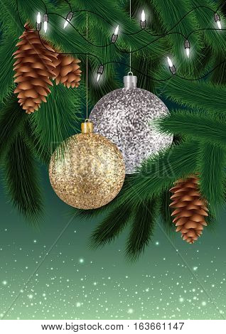 Illustration of Christmas decoration with fir tree branches balls in gold and silver colors fir cones and lights