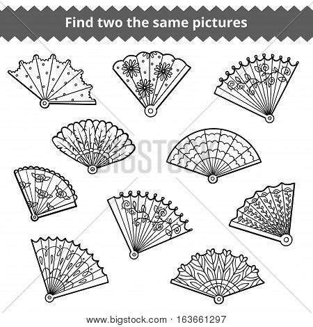 Find two the same pictures, education game for children, vector set of fans