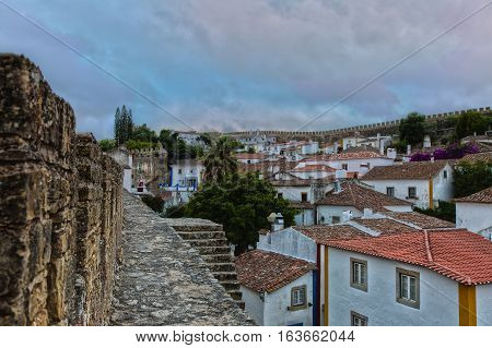 Medieval Castle And Walls In Obidos Village In Portugal