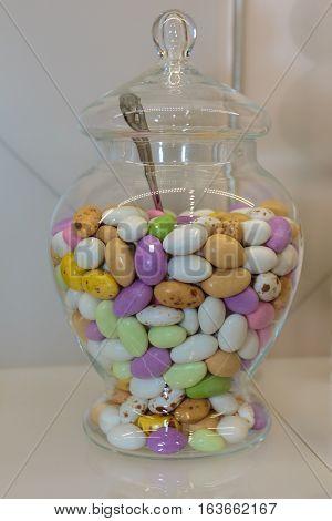Colourful Sugared Almond In Glass Jars