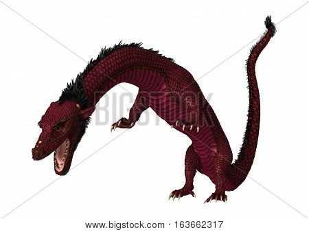 3D Rendering Eastern Dragon On White