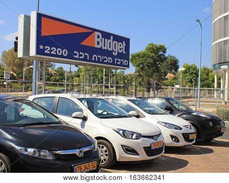 HERZLIYA, ISRAEL - AUGUST 25, 2015: Budget car rental in Herzliya, Israel. Budget is an American car rental company founded in 1958