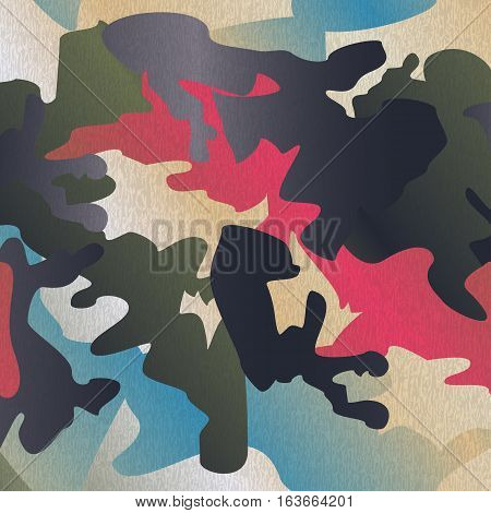 Camouflage pattern background clothing print repeatable camo glamour grunge of scratch vector. Pink blue olive navy