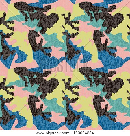 Camouflage pattern background seamless clothing print repeatable camo glamour grunge of scratch vector. Pink lime blue black