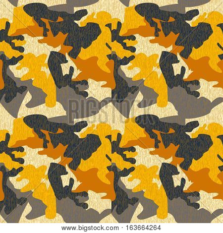 Camouflage pattern background seamless clothing print repeatable camo glamour grunge of scratch vector. Yellow grey black