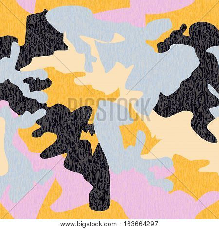 Camouflage pattern background seamless clothing print repeatable camo glamour grunge of scratch vector. Yellow navy blue pink