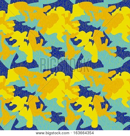 Camouflage pattern background seamless clothing print repeatable camo glamour grunge of scratch vector. Yellow blue