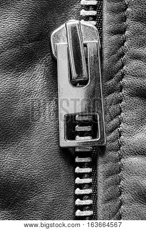 Metal Zipper on Leather Jacket Detail Close Up