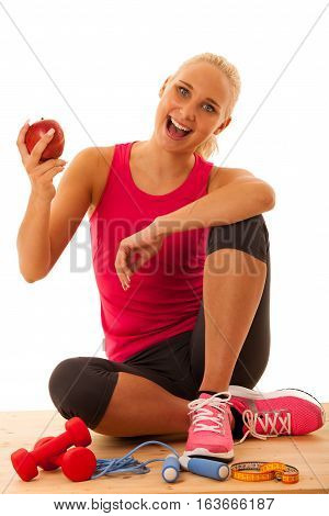Healthy Lifestyle - Fit Blond Womansit On The Flor After Workout Workout