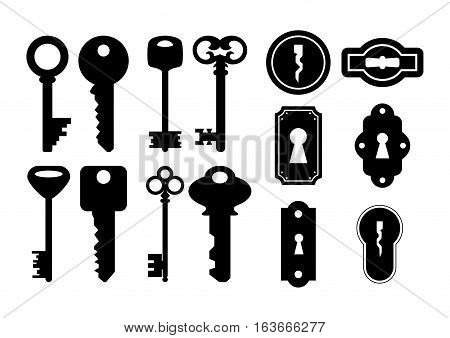 Illustration of house keys and keyholes in black color isolated
