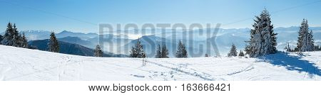 Panoramic View Snow Capped Mountains, European Beautiful Winter Mountains.Slope For Skiers, Alpine Mountains, Landscape For Cross Country Skiers, Winter Panorama Alps, Beautiful Winter Mountain Landscape
