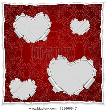 Illustration of template for greeting invitation or valentines day card with torn paper hearts and ornamental background
