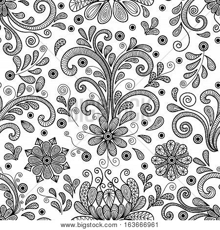 Illustration of seamless floral doodle pattern with lacy ornament in black color isolated