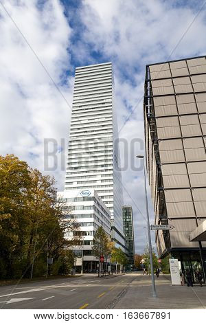 Basel, Switzerland - October 20, 2016: The Roche Tower at the headquarters of the pharmaceutical company Roche
