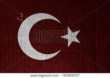 Flag of Turkey or Turkish banner on scratched vintage texture