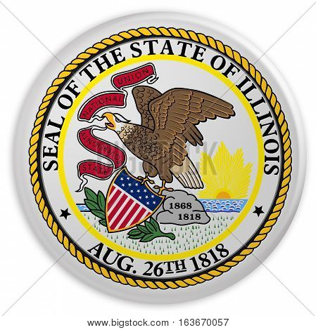 US State Button: Illinois Flag Badge 3d illustration on white background