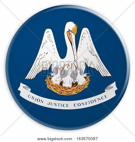 US State Button: Louisiana Flag Badge 3d illustration on white background