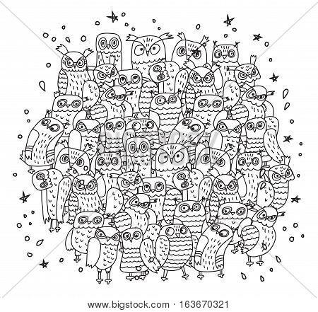 Doodles birds group black and white owls. Monochrome vector illustration. EPS8