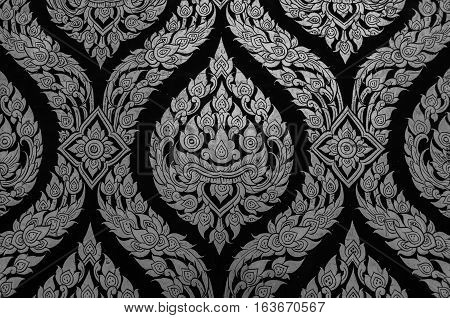 Golden Thai Traditional Art Flower (Lai Thai) Handmade Background and Wallpaper Black and White Tone