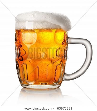 Big mug of beer isolated on a white background