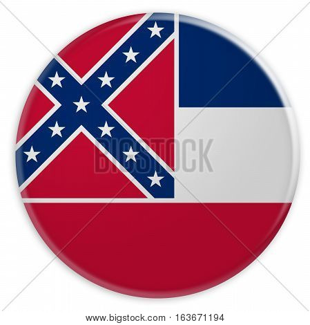 US State Button: Mississippi Flag Badge 3d illustration on white background
