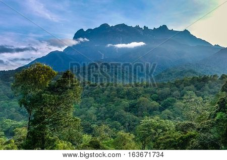 The Majestic Mountain Kinabalu in the morning at the National park Kinabalu,Ranau,Sabah,Borneo.Mount Kinabalu is the tallest mountain in Malaysia and the 20th tallest in the World. poster