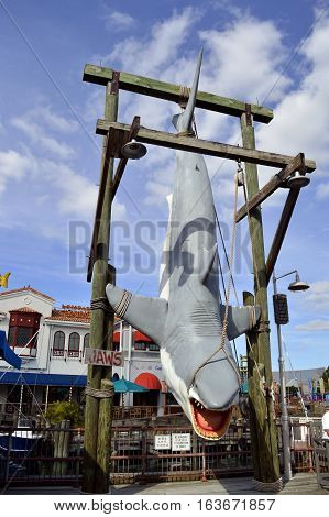 Universal Studios Resort Orlando Florida USA - October 25 2016: The Jaws shark that is suspended on display in Universal Studios Florida