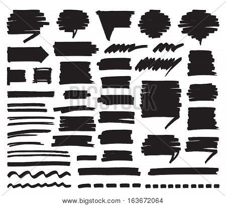 Set of black marker stripes, strokes, shaded speech bubbles and lines isolated on white. Hand drawn by felt pen vector symbols in eps8.