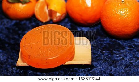 Fresh orange orange soap. Clean and care