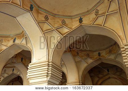 HYDERABAD,INDIA-NOVEMBER 8:Architecture of building nearTomb of Hayath Bakshi Begum in Qutb Shahi Tombs beginning in 1543 on November 8,2016 in Hyderabad,India.