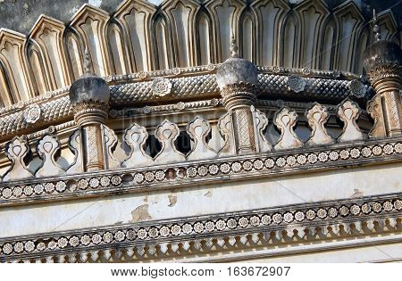 HYDERABAD,INDIA-NOVEMBER 8:Architecture of building in Qutb Shahi Tombs beginning in 1543 on November 8,2016 in Hyderabad,India.